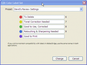 Color label settings