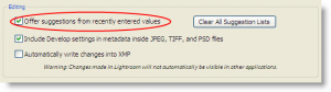 LR2 metadata settings
