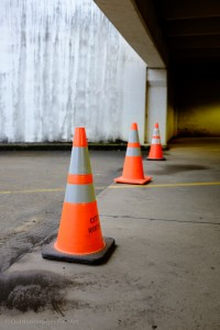 cones in a parking garage - two