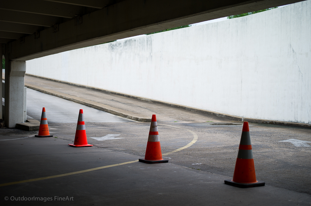 cones in a parking garage