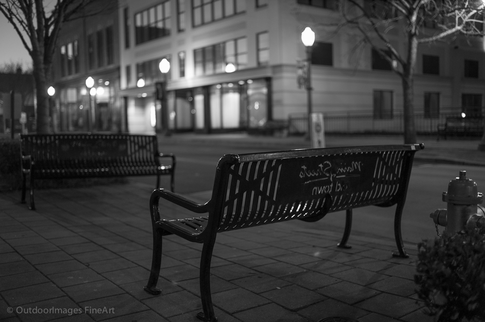 Empty Benches in Early Morning